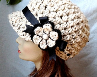 Cold Weather Crochet Woman Hat, Newsboy, Oatmeal, Soft Chunky Wool, Warm, Gift for her, Winter, Ski Hat JE808N7