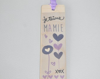 Wooden bookmark - I love you Grandma