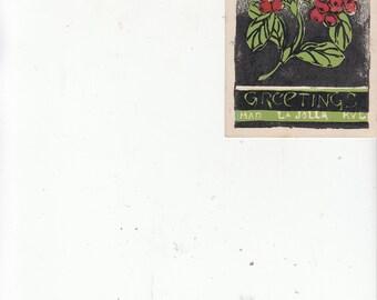 PM 1943 Handmade Blockprint Floral Greetings From La Jolla Ca Vintage Postcard Initials? Must See