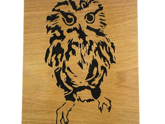 Owl Wood Wall Hanging Portrait Handmade From Oak Or Birch