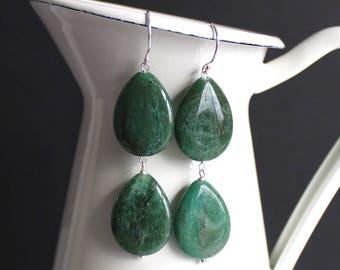 Green African Aventurine Earrings, Double Drop, Bohemian Butterfly, Semiprecious Stone, Statement Earrings, Long Green Earrings - ROKA