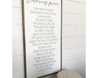 Amazing Grace 2x4, How Sweet The Sound, Amazing Grace Sign, Home Decor, Farmhouse Decor, Wood Sign, Farmhouse Sign, Religious Sign, Rustic .