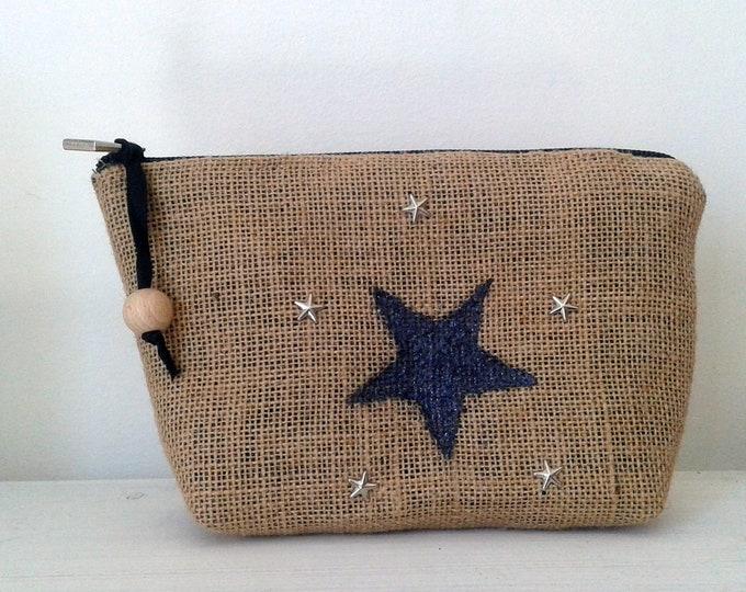 Kit, makeup case, Burlap, gift idea, fabric, canvas, romantic, burlap pouch, Star, Star