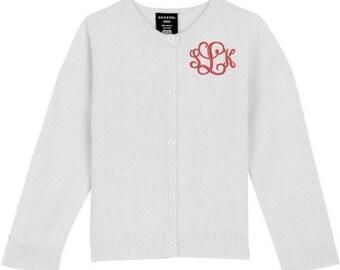 Monogrammed Sweater Kids Child Toddler Cardigan Monogram Uniform White Navy Pink Red