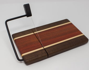 Cheese Slicer - Walnut Edges with Orange Middle and White Stripes