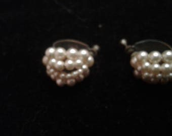 Domed Faux Pearl Screwback Hoop Earrings
