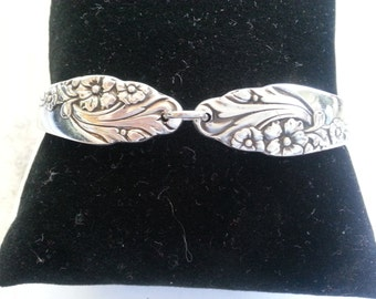 Spoon bracelet, Evening Star silverware, vintage 1950, Mother'a day, free shipping  and gift box, ready to ship