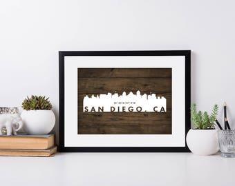 San Diego City Art, Coordinate Art, House Warming, Newly Weds, Tourist,