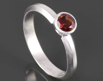 Sterling Silver Solitaire Ring. Genuine Gemstone. Tapered Bezel Setting. Beveled Band. 5mm Faceted Round. Customized. Garnet Ring.