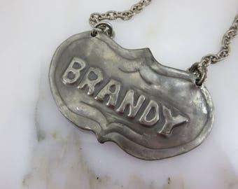 Vintage Brandy Liquor Label - Hand Made Tin Decanter Label