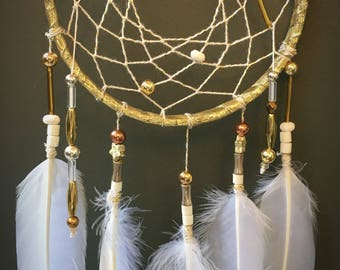Gold and White Dreamcatcher