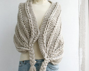 Hand Knitted Beige Rectangle Shawl / Over Size Long Cable Scarf / Winter Knit Accessories / Christmas Gift / Clothing Gift / Outdoors Gift