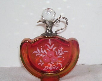 Italian Ruby Red Perfume Bottle Cristallo Argento Etched flowers,  Faceted Top Long Stopper Shaped like a pitcher