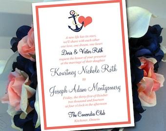 "Printable Wedding Invitation Template - Nautical Invitation Deep Coral Dark Navy Blue ""Anchor Love"" DIY Wedding Template - Beach Wedding"