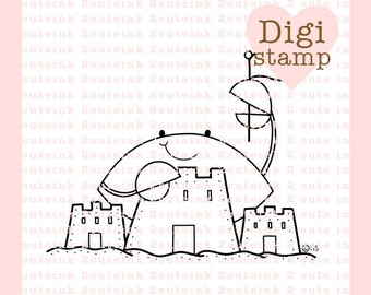 Sand Castle Crab Digital Stamp for Card Making, Paper Crafts, Scrapbooking, Hand Embroidery, Invitations, Stickers, Coloring Pages
