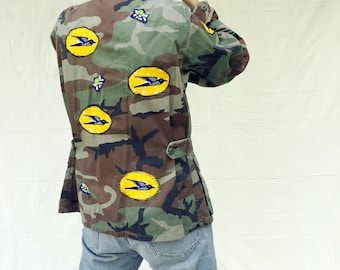 Old Issue Camo with African Wax Print Details - Refugee Made - Here Today Gone Tomorrow
