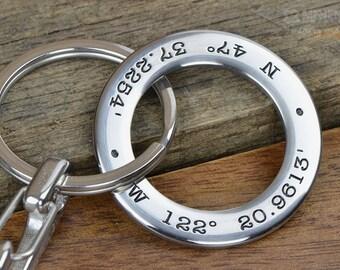 Personalized Keychain, Great Couples Gift, Boyfriend Gift, Fiance gift, GPS Coordinates Longitude Latitude Keychain
