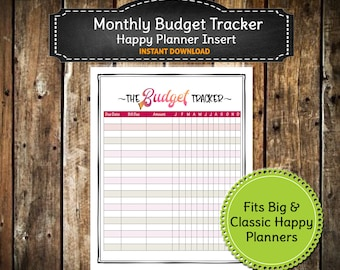 Colorful PRINTABLE Monthly Budget Planner / Bill Payment Planner / Finances /Big Happy Planner/ Classic Happy Planner - INSTANT  DOWNLOAD