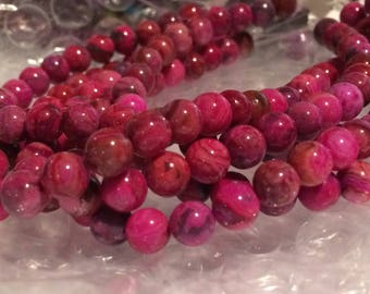 "Dakota Stones 6mm Round Pink Crazy Lace Agate Beads - 8"" Strand"
