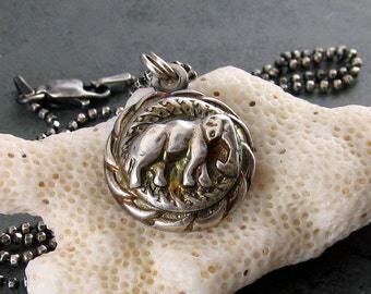 Silver elephant pendant, handmade eco friendly antique button necklace-OOAK