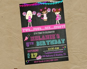 CHEERLEADER Birthday Party Invitation Cheer - Digital Personalized File to Print
