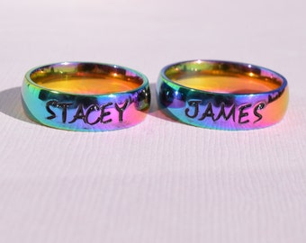band rings engagement jewerly rainbow rainbowdepot ring gay lesbian p