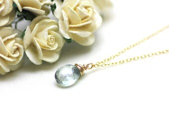 Light Smoky Blue Quartz Gemstone Pendant Necklace on Gold   Gift for Woman   Modern, Minimal, Comfortable Jewelry by Azki