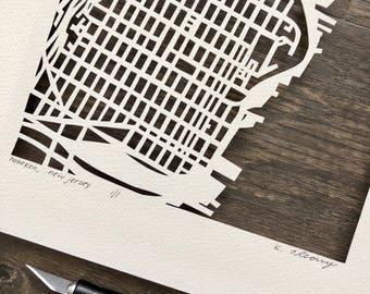 Hoboken, Jersey City, Point Pleasant, Newark, Seaside or Morristown Hand Cut Map ORIGINAL, 10x10