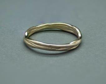 14k Gold Vine Stacking Ring Band.