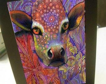 greeting card print of original art-orange cow Zentangle