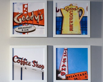 Coffee Shop Photography Series, Breakfast Nook Prints, Set of 4 Prints, Kitchen Decor, Dining Room Wall Art, Home Decor