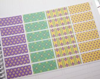 24 Planner Stickers Washi Mardi Gras Planner Stickers February Planner Stickers eclp PS367g