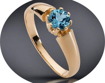 Solitaire Engagement Anniversary Ring 100% Swiss Blue  Made to Order in White or Yellow 14k Gold