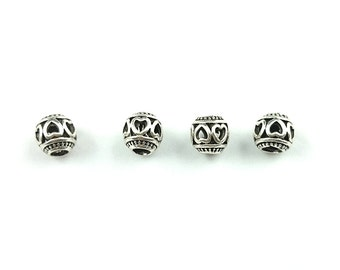 7mm silver plated copper metal beads, round ball big hole spacer beads, jewelry findings supplies
