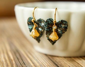 Black and Blue Patina Ivy Leaf & Czech Bellflower Earrings in Caramel, Unique Earrings, Gold Turquoise Amber Dangle Earrings