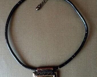 Aztec pendant Choker,cracked Leather necklace,Tribal motif collar,Minimal Modern Collar necklace ,punk rock,handmade Unisex jewelry