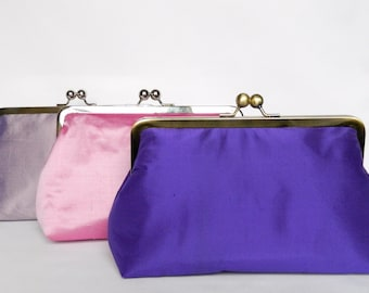 Combination Set of 3 Bridal Silk Clutches, Bridesmaids Gifts, Bridal Clutch Purses, Wedding Clutch, Bridesmaids Clutch, Bridesmaids Set