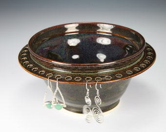 Earring Bowl  Earring Tree Brown Glaze