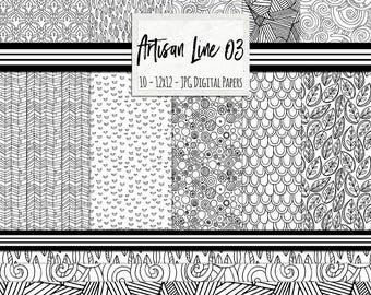 Geometric Black and White Pattern Digital Paper, Dots Scrapbooking Background, Hand Drawn Artisan 03 Line Pattern Paper Pack