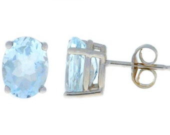 Natural Aquamarine Oval Stud Earrings .925 Sterling Silver Rhodium Finish