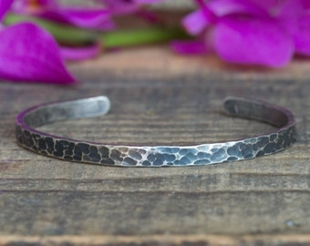 Rustic Sterling Silver Cuff Bracelet Hammered Silver Bracelet Bohemian Bracelet Boho Chic Sterling Silver Bracelet Textured Cuff Bracelet