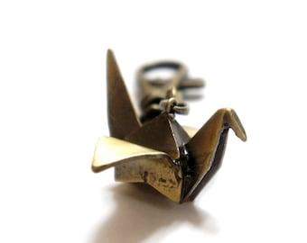 Vintage Style Antiqued Brass Origami Bird Key Chain Keychain