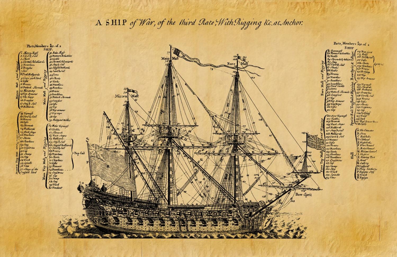 1728 British War Ship Drawing A Ship of War of the Third Rate ...