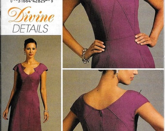 Vogue V8576 Divine Details Fitted Lined Dress Sewing Pattern 8576 UNCUT Size 4, 6, 8 and 10