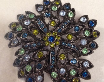 SELINI Jewelry Vintage Starburst Multicolor Pin Brooch Rhinestone Black Multicolor