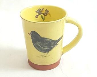Blackbird, mugs handmade, Bird mug,nature lovers,coffee mug, rustic mug, pottery mug, bird lovers gift, housewarming gift,bird art