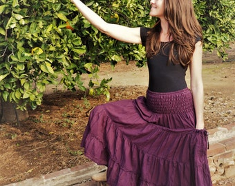 Gauze Cotton Boho Gypsy Tiered Skirt in EGGPLANT // Pockets, Natural Fiber, Flexible Waistband / Breathable Elegance!