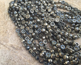 Victorian Glass nailheads metallic distressed silver dome top hollow back beads  rustic vintage beads Bohemian