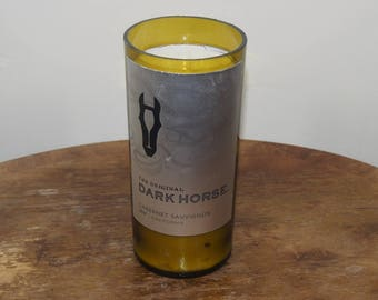 Handmade Wine Bottle Candle Dark Horse