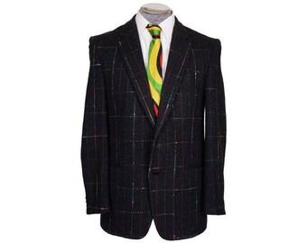 Vintage 1970s Mens Sport Jacket - Flecked Wool - Multicolored Checks - S